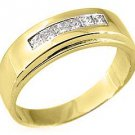 MENS 3/4 CARAT PRINCESS SQUARE CUT DIAMOND RING WEDDING BAND 14KT YELLOW GOLD