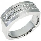 MENS 1.5 CARAT PRINCESS SQUARE CUT DIAMOND RING WEDDING BAND 18KT WHITE GOLD