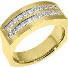 MENS 1.5 CARAT PRINCESS SQUARE CUT DIAMOND RING WEDDING BAND 18KT YELLOW GOLD