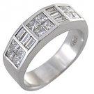 MENS 1.75 CARAT PRINCESS BAGUETTE CUT DIAMOND RING WEDDING BAND 18KT WHITE GOLD