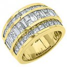 MENS 3.38 CARAT PRINCESS BAGUETTE CUT DIAMOND RING WEDDING BAND 18KT YELLOW GOLD