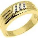 MENS 1/4 CARAT BRILLIANT ROUND CUT DIAMOND RING WEDDING BAND 14KT YELLOW GOLD