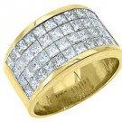 MENS 3.38 CARAT PRINCESS SQUARE CUT DIAMOND RING WEDDING BAND 18KT YELLOW GOLD