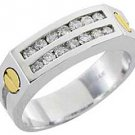 MENS 3/4 CARAT BRILLIANT ROUND CUT DIAMOND RING WEDDING BAND WHITE GOLD