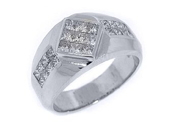 MENS 1.88 CARAT PRINCESS SQUARE CUT DIAMOND RING WEDDING BAND 18KT WHITE GOLD