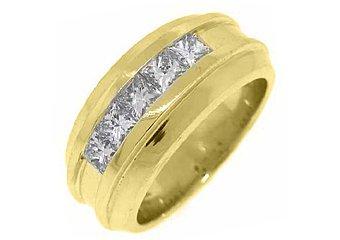 MENS 1.54 CARAT PRINCESS SQUARE CUT DIAMOND RING WEDDING BAND 14KT YELLOW GOLD