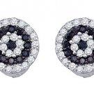 .26 CARAT BRILLIANT ROUND CUT BLACK DIAMOND HALO STUD EARRINGS WHITE GOLD