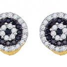 .26 CARAT BRILLIANT ROUND CUT BLACK DIAMOND HALO STUD EARRINGS YELLOW GOLD