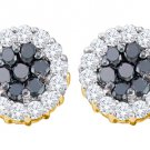 1.48 CARAT BRILLIANT ROUND CUT BLACK DIAMOND HALO STUD EARRINGS YELLOW GOLD