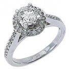 1.83 CARAT WOMENS DIAMOND ENGAGEMENT HALO WEDDING RING ROUND CUT 14K WHITE GOLD