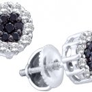 .50 CARAT BRILLIANT ROUND CUT BLACK DIAMOND HALO STUD EARRINGS WHITE GOLD