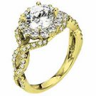 WOMENS DIAMOND ENGAGEMENT HALO RING ROUND CUT 1.92 CARAT 14K YELLOW GOLD