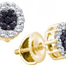 .50 CARAT BRILLIANT ROUND CUT BLACK DIAMOND HALO STUD EARRINGS YELLOW GOLD