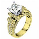 WOMENS DIAMOND ENGAGEMENT RING PRINCESS CUT 2.20 CARAT 14K YELLOW GOLD