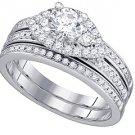 WOMENS DIAMOND ENGAGEMENT RING WEDDING BAND BRIDAL SET ROUND CUT 1.08 CARAT