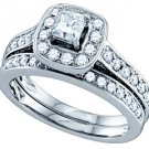 WOMENS DIAMOND HALO ENGAGEMENT RING WEDDING BAND BRIDAL SET PRINCESS CUT 1.5 CTS