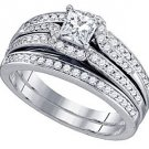 WOMENS DIAMOND ENGAGEMENT RING WEDDING BAND BRIDAL SET PRINCESS CUT .99 CARATS