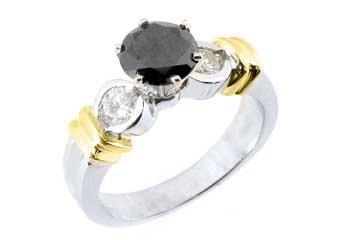 WOMENS 1.5 CARAT ROUND CUT BLACK DIAMOND ENGAGEMENT RING TWO TONE WHITE GOLD