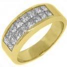 MENS 2.68 CARAT DIAMOND RING WEDDING BAND SQUARE PRINCESS INVISIBLE YELLOW GOLD