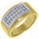 MENS DIAMOND RING WEDDING BAND 1 CARAT PRINCESS CUT SQUARE 14K YELLOW GOLD