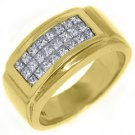 MENS 1.18 CARAT PRINCESS SQUARE CUT DIAMOND RING WEDDING BAND 18KT YELLOW GOLD