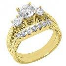 1.7CT DIAMOND ENGAGEMENT RING WEDDING BAND BRIDAL SET ROUND CUT 14K YELLOW GOLD