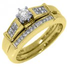 1/2CT WOMENS DIAMOND ENGAGEMENT RING WEDDING BAND BRIDAL SET ROUND YELLOW GOLD