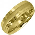 MENS WEDDING BAND ENGAGEMENT RING YELLOW GOLD HIGH GLOSS & SATIN FINISH 6mm