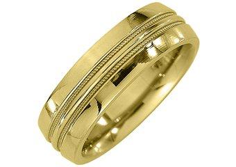 MENS WEDDING BAND ENGAGEMENT RING YELLOW GOLD HIGH GLOSS MILGRAIN 6mm