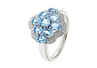WOMENS 1.8 CARAT BLUE TOPAZ COCKTAL RIGHT HAND CLUSTER RING 925 STERLING SILVER
