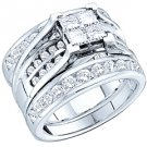 WOMENS DIAMOND ENGAGEMENT RING WEDDING BAND TRIO SET PRINCESS CUT INVISIBLE
