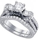 WOMENS DIAMOND ENGAGEMENT RING WEDDING BAND BRIDAL SET ROUND CUT 1.51 CARAT