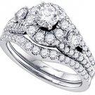 WOMENS DIAMOND HALO ENGAGEMENT RING WEDDING BAND BRIDAL SET ROUND CUT 1.5 CARAT