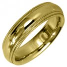 MENS WEDDING BAND ENGAGEMENT RING YELLOW GOLD GLOSS FINISH MILGRAIN 5mm