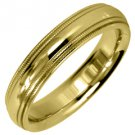 MENS WEDDING BAND ENGAGEMENT RING YELLOW GOLD GLOSS FINISH MILGRAIN 4mm