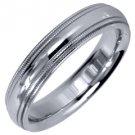 MENS WEDDING BAND ENGAGEMENT RING WHITE GOLD GLOSS FINISH MILGRAIN 4mm