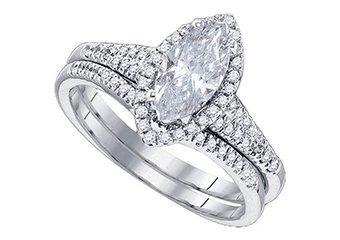 WOMENS MARQUISE CUT DIAMOND ENGAGEMENT HALO RING WEDDING BAND BRIDAL SET 2.5 CTS
