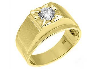 MENS 3/4 CARAT SOLITAIRE ROUND CUT DIAMOND RING WEDDING BAND 14KT YELLOW GOLD
