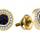 .27 CARAT MICRO PAVE ROUND BLACK DIAMOND STUD EARRINGS 925 SILVER