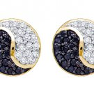 .36 CARAT BRILLIANT ROUND CUT BLACK DIAMOND STUD EARRINGS YING YANG YELLOW GOLD