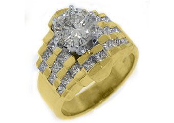 3 CARAT WOMENS DIAMOND ENGAGEMENT WEDDING RING ROUND PRINCESS CUT YELLOW GOLD