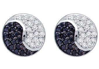 .36 CARAT BRILLIANT ROUND CUT BLACK DIAMOND STUD EARRINGS YING YANG WHITE GOLD