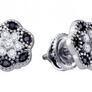 .29 CARAT BRILLIANT ROUND CUT BLACK DIAMOND STUD EARRINGS WHITE GOLD