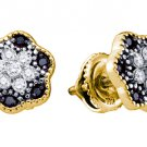.29 CARAT BRILLIANT ROUND CUT BLACK DIAMOND STUD EARRINGS YELLOW GOLD