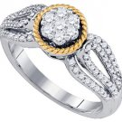 WOMENS BRILLIANT ROUND CUT DIAMOND ENGAGEMENT RING TWO TONE GOLD .62 CARATS