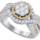 WOMENS BRILLIANT ROUND CUT DIAMOND ENGAGEMENT RING TWO TONE GOLD .99 CARATS