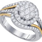 WOMENS BRILLIANT ROUND CUT DIAMOND ENGAGEMENT RING TWO TONE GOLD 1.08 CARATS
