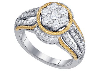 WOMENS BRILLIANT ROUND CUT DIAMOND ENGAGEMENT RING TWO TONE GOLD 1.11 CARATS