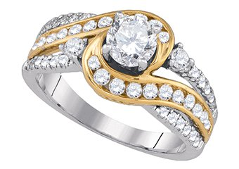 WOMENS BRILLIANT ROUND CUT DIAMOND ENGAGEMENT RING TWO TONE GOLD 1.51 CARATS