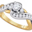 WOMENS BRILLIANT ROUND CUT DIAMOND ENGAGEMENT RING TWO TONE GOLD .75 CARATS
